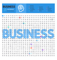 business thematic collection line icons vector image
