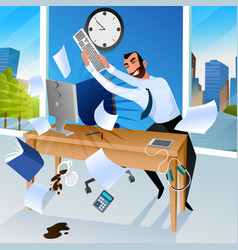 Businessman goes mad in office vector