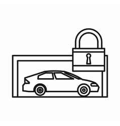 Car and padlock icon outline style vector