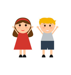 cartoon boy and girl on a white background vector image