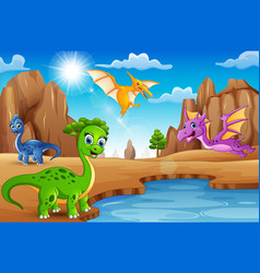 cartoon happy dinosaurs living in the desert vector image