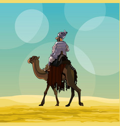 Cartoon man riding a camel in the desert vector