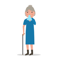 Cartoon old woman caught cold sneezing ill vector