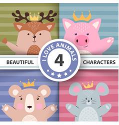 cartoon set animals - deer pig bear mouse vector image