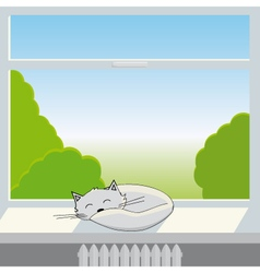 Cat sleeps on window sill vector