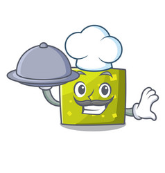 chef with food square mascot cartoon style vector image