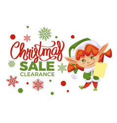 christmas sale clearance holiday off elf girl vector image