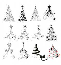 Christmas tree designs vector
