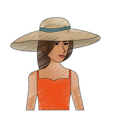Color pencil half body woman with beach hat and vector