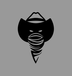 Cowboy outlaw head symbol on gray backdrop vector