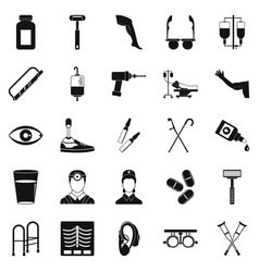 Cripple icons set simple style vector