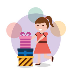 cute girl ribbon bow wrapped gift box vector image
