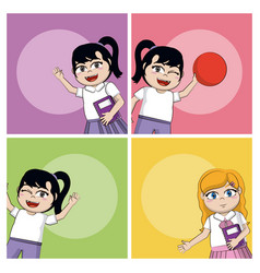 cute school girls vector image