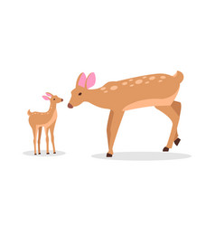 Deer family in woods isolated cartoon vector