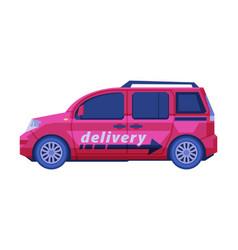 Delivery car cargo transportation dark pink vector