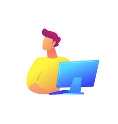 developer working at desktop computer vector image