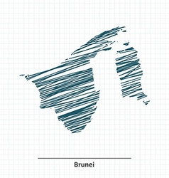 Doodle sketch of Brunei map vector