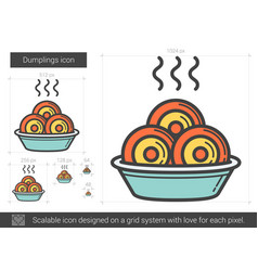 Dumplings line icon vector