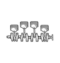 Engine pistons on crankshaft sketch engraving vector