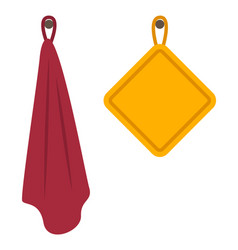 fabric towels on hooks in kitchen or bathroom vector image