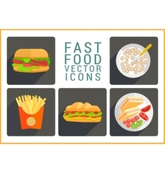 Fast food flat icons vector image