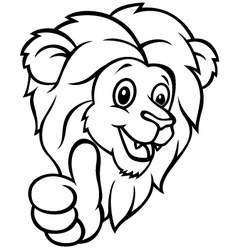 Funny cartoon lion giving thumb up vector image