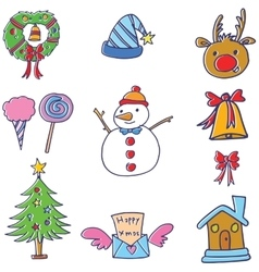 Funny color christmas doodle element vector