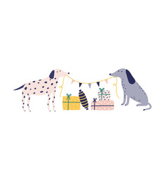 funny dogs with christmas gift boxes flat vector image