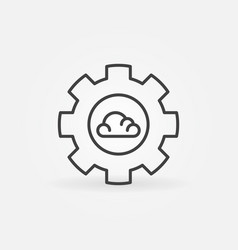 gear with cloud linear cloud computing vector image