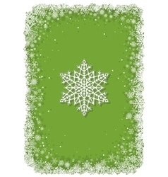Green Christmas frame with snowflakes vector image