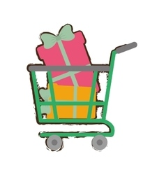 Green shopping cart online boxes gift presents vector