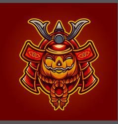 halloween jack o lantern japan mask samurai vector image
