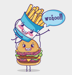 Hamburger and french fries kawaii cartoon vector