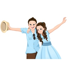 Happy asian couple extend their arms with smiling vector image
