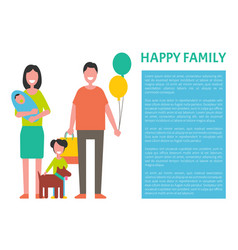 happy family mother father and two sons newborn vector image