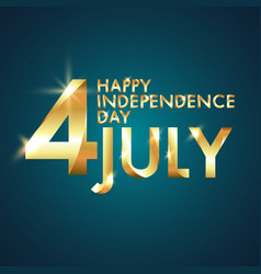 happy independence day 4th july with golden vector image