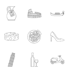 Holiday in Italy icons set outline style vector image