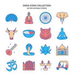 india icons set in colored line style vector image