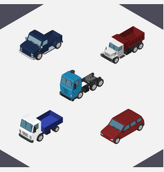 Isometric transport set of freight car suv and vector