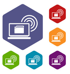 laptop and and wireless icons set vector image