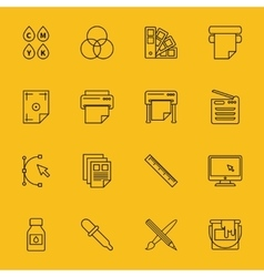 Line printing icons vector