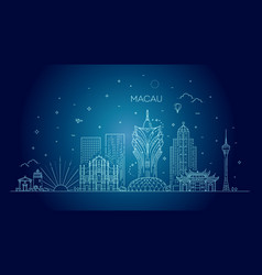 macau skyline china line art vector image