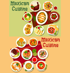 mexican meat and vegetable snacks with spice sauce vector image