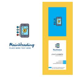 Money through smartphone creative logo and vector