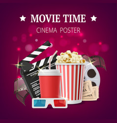movie poster cinema placard design template with vector image