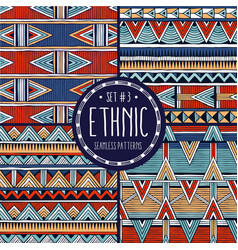 multicolor ethnic patterns collection set of 4 vector image