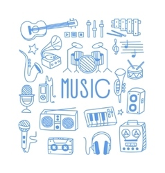 Music Related Object Set With Text vector image