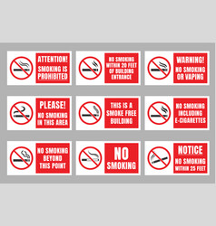 No smoking sign set smoking is prohibited vector
