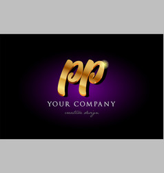 Pp p p 3d gold golden alphabet letter metal logo vector