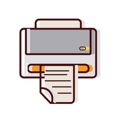 printer machine technology with business document vector image